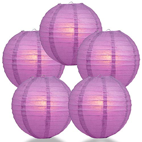 "Quasimoon PaperLanternStore.com (5-Pack) 16"" Violet/Orchid Round Paper Lantern, Even Ribbing, Hanging Decoration"