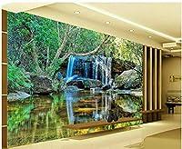 カスタム3D写真壁画壁紙滝流れる水緑の植物風景寝室ソファ研究室リビングルーム家の装飾背景壁-300X200CM