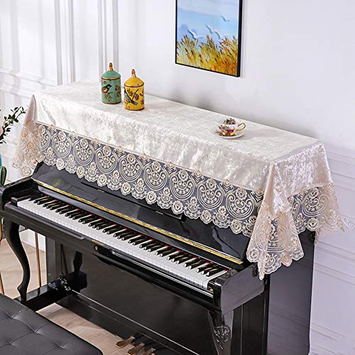 Douup Upright Piano Cover Cloth Made of Decorative Dust-Proof Velvet Lace Fabric 35 X 86 Blue Piano Covers of Popular Songs,Gold