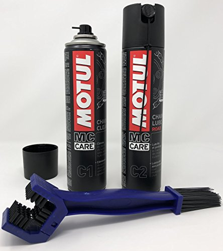 MC CARE Mantenimiento Cadena - Motul C1 Chain Clean 400 ml + Motul C2 Chain Lube Road 400 ml + Cepillo
