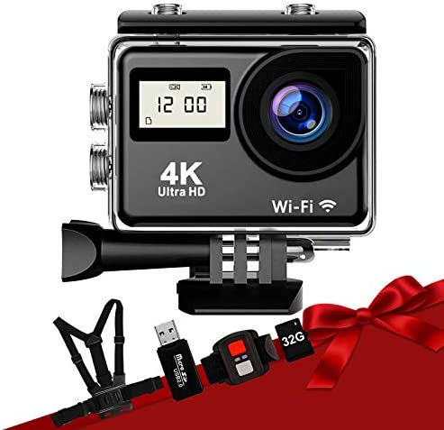 FateFan Action Camera 4K WiFi Sports Camera Waterproof 170 Wide Angle with 2 4G Remote Control product image