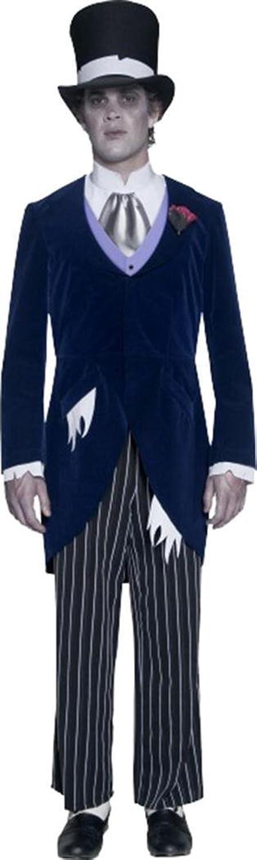 Smiffy's Mens Halloween Fancy Dress Gents Gothic Manor Groom Costume Navy bluee