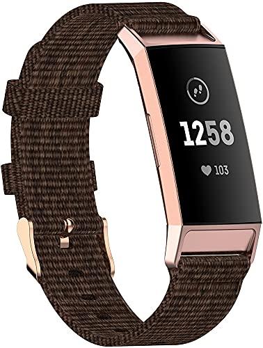Nylon Trenzado Correa de Reloj Compatible con Fitbit Charge 4 / Charge 4 SE/Charge 3 SE/Charge 3, Clásicos exquisitos Pulseras de la Correa de los Hombres (Pattern 3)