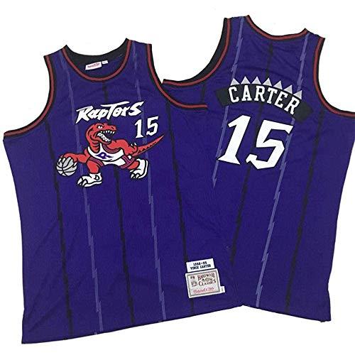 xiaotianshi Men's NBA Basketball Jerseys Raptors # 15 Vince Carter Classic Jersey, Transpirable Resistente al Desgaste Vintage Baloncesto All-Star Unisex,Púrpura,L