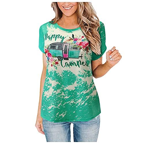 Dasongff Bluse Damen T-Shirt Sommer Kurzarm Hemd Casual Trend Rundhals Gedrucktes Tunika Basic Oberteile Hemd Lose Kurzarm T-Shirt Pullover Tops Blusentop Sweatshirts Hemden Blusenshirts