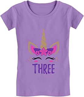 Gift for 3 Year Old Girl Unicorn 3rd Birthday Infant Girls' Fitted T-Shirt