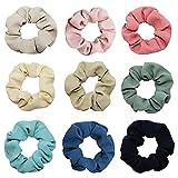 9 pcs Fashion Solid Colors Fabric Elastic Hair...