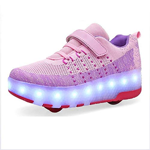 Double-Row Deform Wheel USB Charge Led Girl Skates Roller Wheels Shoes Automatic Walking Invisible Wear-Resistant Soles Pulley Deformation Roller Shoes,38