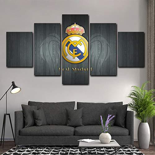 Moderno Decoración del Hogar Mural Lona Imagen Real Madrid Club de Fútbol Modular Deporte Póster 5 Piezas Antecedentes Pintura,A,25x40x2+25x60x1+25x50x2