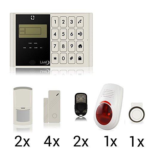 LKM Security M2C Alarmsysteem, complete set 11-delig. GSM - wireless - inbraakbeveiliging - buitensirene - wit