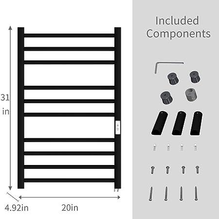 Electric Heated Rail Towel Warmer Bar Rung Matte Stainless Steel Bathroom Luxury