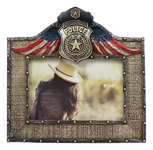 Ebros Western Police Emblem Logo Badge Picture Frame with Easel Back for 4'X6' Photo Law Enforcement Civil Service Memorial USA American Flag Rustic Cabin Lodge Decorative Accent