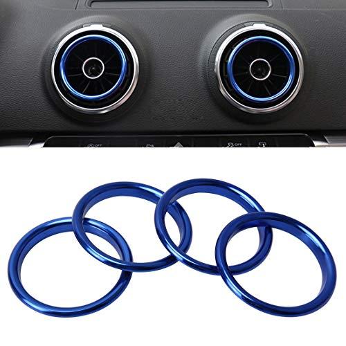 ZTH 4 PCS Car Outlet Decorative Rings Aluminum Alloy Air Outlet Chrome Trim Ring Car Dashboard Air Vents Cover Sticker Decoration for Audi A3(Gold) (Color : Blue)