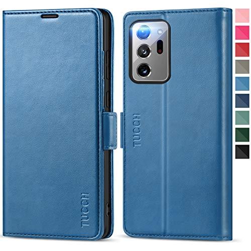 TUCCH Galaxy Note 20 Ultra Hülle, Flipcase Note20 Ultra [TPU] [RFID Schutz] [Aufstellfunktion] [Magnet] [Kartenfach], Lederhülle Klappbar, Stoßfest Brieftasche für Galaxy Note 20 Ultra 6,9 Zoll Blau