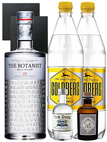 Gin-Set The Botanist Islay Dry Gin 0,7 Liter + The Duke München Dry Gin 5 cl + Monkey 47 Schwarzwald Dry Gin 5 cl MINIATUR + 2 x Goldberg Tonic Water 1,0 Liter + 2 Schieferuntersetzer quadratisch 9,5 cm