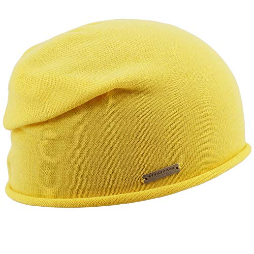 Seeberger Rollrand Beanie Damenbeanie Damenmütze Mütze Strickmütze Long Sommermütze (Vanilla)