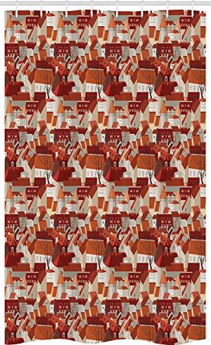 ABAKUHAUS stad Douchegordijn, Dak van de Tegel Patroon Urban, voor Douchecabine Stoffen Badkamer Decoratie Set met Ophangringen, 120 x 180 cm, Veelkleurig
