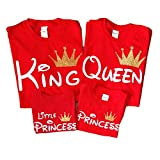 Disney Trip Shirts King and Queen Shirts Prince Princess Outfit Father Mother Daughter Son Matching Shirts (Price per Tshirt) (Queen S Adult, RED)