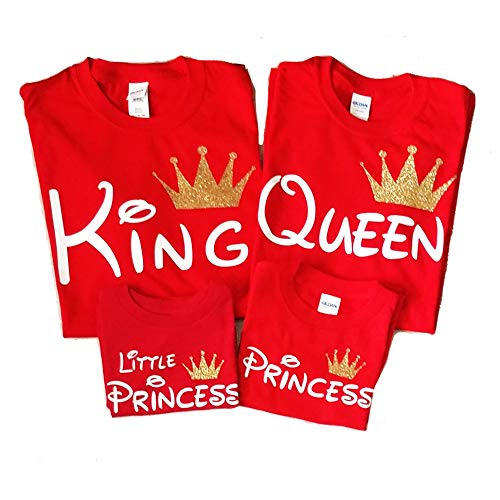Disney Trip Shirts King and Queen Shirts Prince Princess Outfit Father Mother Daughter Son Matching Shirts (Price per Tshirt) (Queen M Adult, RED)