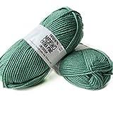 Superwash 100% lana merina para tejer y ganchillo, 3 o ligero, DK, Leight Worsted Weight, gotas Merino extra finas, 50 g 115 yardas por bola (31 verde bosque)