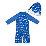 upandfast Baby/Toddler Boy One Piece Zip Sunsuits with Sun Hat UPF 50+ Sun Protection Infant Beach Swimsuit (Blue Shark(LS), 3-6 Months)