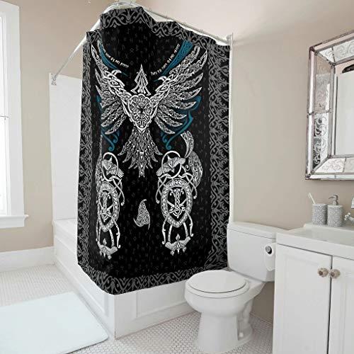 Twelve constellations Cortina de ducha, diseño de águilas vikingas, fácil de limpiar, juego de cortinas con ganchos, color blanco, 150 x 180 cm