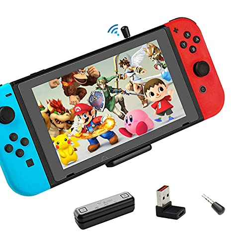 Bluetooth Adapter for Nintendo Switch Accessories USB-C Connector Wireless Audio Transmitter with aptX LL, Support in-Game Voice Chat,Connect AirPods PS5 Headphones - Black