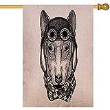 Overlooked Shop Outdoor dekorative Fahnen niedlichen Tier tragen Motorrad Helm Hund Tattoo Emblem Abzeichen Logo Patch Tshirt