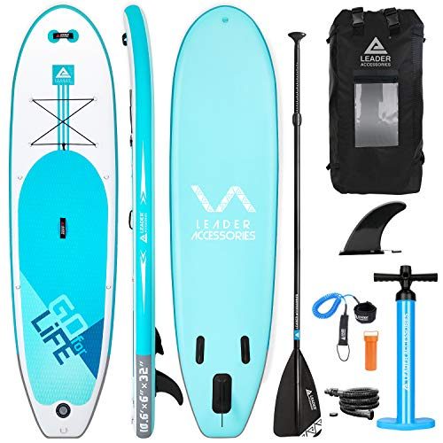 Leader Accessories Tabla Paddle Surf Hinchable 320x81.28x15.24cm Sup con Bomba de Acción Doble, Mochila Moderna, Remo de Aluminio y Aleta