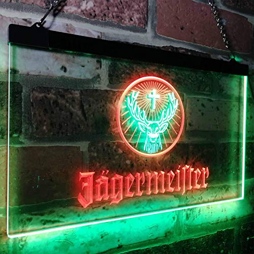 zusme Jagermeister Deer Drink Bar Novelty LED Neon Sign Green + Red W40cm x H 30cm