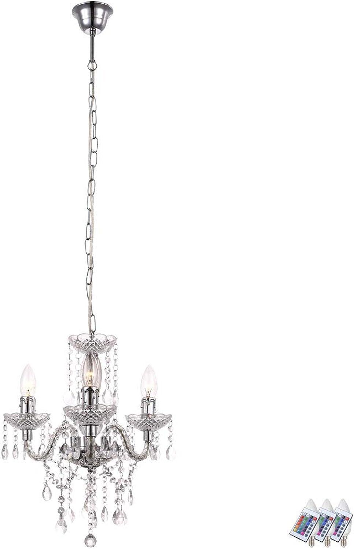 Kristall Kronleuchter Fernbedienung Decken Hnge Lampe dimmbar im Set inkl. RGB LED Leuchtmittel