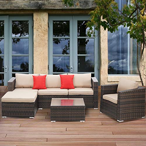 SOLAURA Patio Furniture Set 6-Piece All-Weather Brown Wicker Sectional Sofa Outdoor Modular Conversation Set with Seat Cushions and Glass Coffee Table for Garden, Porch, Backyard, Pool