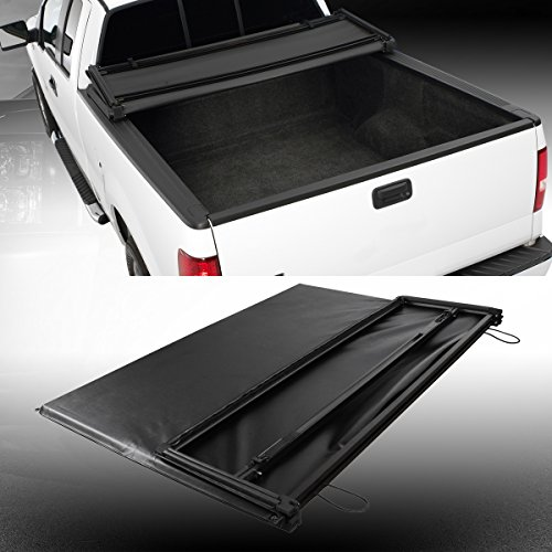 Soft Tri-Fold Truck Cargo Bed Tonneau Cover Black for 94-03 Chevorlet S10/GMC Sonoma Pickup With 6 Feet (73.1')/96-00 Isuzu Hombre Pickup With 6 Feet (72') Fleetside Bed Only(Not Fit Stepside Bed);