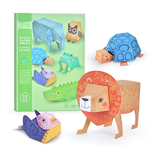 SHURROW Papel Cortado en Papel Película Hecho a Mano Libro de Origami Simulación Papel Cortado Juguete Regalo Ideal para niños pequeños Animales de Origami Modelo Animales de Origami Juguetes
