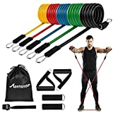 MOVTOTOP Resistance Bands Set, [2021 Newest] 5 Stackable Exercise Bands Up to 150 Lbs, 11 Pack Workout Resistance Bands with 2 Foam Handles Suit for Men Women Working Out