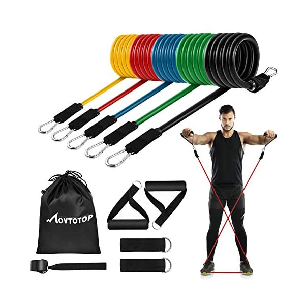 MOVTOTOP Resistance Bands Set, [2021 Newest] 5 Stackable Exercise Bands Up to 150...
