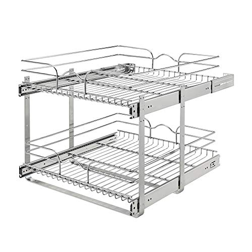 Rev-A-Shelf 5WB2-2122CR-1 21 x 22 Inch 2-Tier Wire Basket Pull Out Shelf Storage for Kitchen Base Cabinet Organization, Chrome