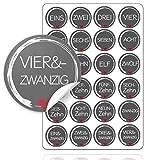 TK Gruppe Timo Klingler Adventskalender Weihnachten Aufkleber Etiketten Sticker Zahlen Buttons 1-24 selbstklebend zum basteln (Edition 1)