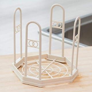 SUMOUMOU Shelf 1Pc Dish Shaped Drain Rack Plastic Dish Storage Rack Folding Frame Kitchen Utensils Storage Drain Rack Ivory