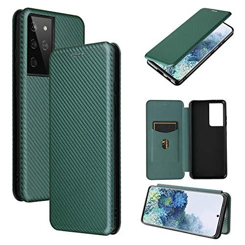 TOPOFU Hülle für Samsung Galaxy S21 Ultra 5G Handyhülle, Flip Wallet Tasche mit [Kartensteckplätzen], Kratzfestem Kohlefaser PC + Stoßfestem TPU + Freiem Ständer, Lederhülle Schutzhülle-Grün