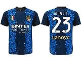 L.C. SPORT SRL Camiseta oficial Nicolò Barella. Camiseta negra y azul. Número 23. Primera camiseta. Réplica autorizada 2021-2022. Tallas de niño y adulto.