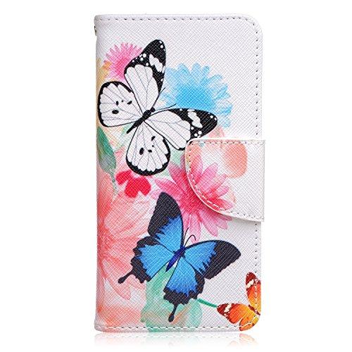 ISAKEN Compatibile con Samsung Galaxy J5 2016 Custodia Flip Cover in Pelle PU Protettiva Portafoglio Wallet Case Cover con Funzione Supporto/Carte Slot/Chiusura - Butterfly