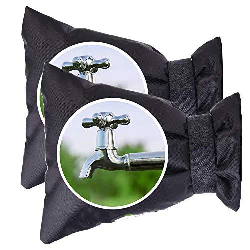 MUSJOS Cubierta De Grifo para Exterior, Reutilizable Protector De Grifos De Jardin para Invierno Anticongelante Protección, 2 Paquetes-Negro