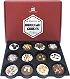 Chocolate Covered Cookies Gift Basket for College, Kids, Thanksgiving & Holidays. 12 Delicious Cookie for Xmas and Christmas.