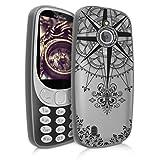 kwmobile Nokia 3310 3G 2017 / 4G 2018 Hülle - Handyhülle für Nokia 3310 3G 2017 / 4G 2018 - Handy Case in Kompass Barock Design Schwarz Transparent