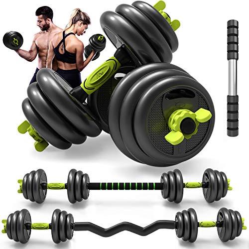 Oflamn Juego de mancuernas 4 en 1 ajustables para gimnasio en casa, para hombres y mujeres, entrenamiento abdominal (20 kg)