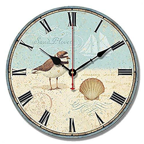 S.W.H Mediterráneo Reloj de Pared Pájaro Concha Playa Gaviota Decoración Reloj de Pared Silencioso Colgante Regalo Azul