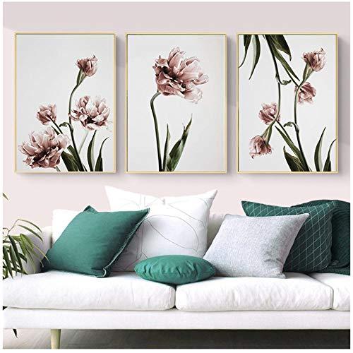 Zhaoyangeng Tulp Canvas Schilderijen Afdrukken Op Doek Muur Kunst Prints Moderne Bloemenposter Muur Kunst Foto's Home Decoration- 40X50Cmx3/Unframed