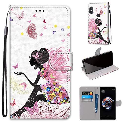 Miagon Flip PU Leder Schutzhülle für Xiaomi Redmi Note 5 Pro,Bunt Muster Hülle Brieftasche Case Cover Ständer mit Kartenfächer Trageschlaufe,Schmetterling Mädchen