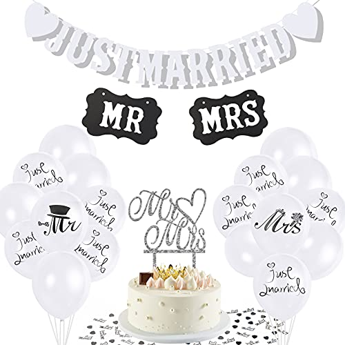 Ulikey Just Married Decoracion, Just Married Globos Blancos, 2 Letreros MR y...